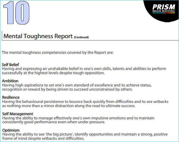 prism brain mapping Mental Toughness Report 4